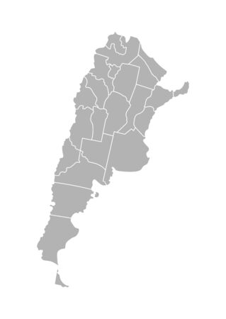 Vector isolated illustration of simplified administrative map of Argentina. Borders of the provinces (regions). Grey silhouettes. White outline.