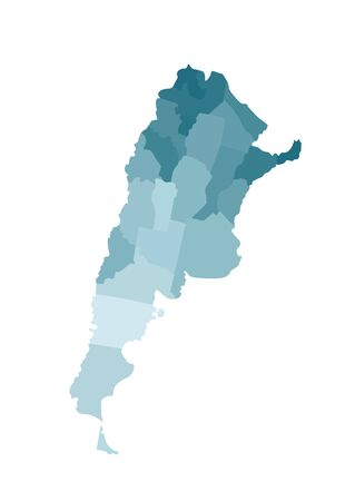Vector isolated illustration of simplified administrative map of Argentina. Borders of the provinces (regions). Colorful blue khaki silhouettes. Ilustrace