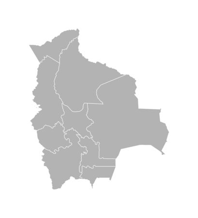 Vector isolated illustration of simplified administrative map of Bolivia. Borders of the departments (regions). Grey silhouettes. White outline.