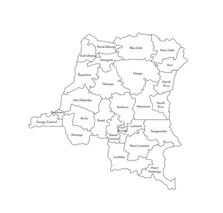 Vector isolated illustration of simplified administrative map of Democratic Republic of the Congo. Borders and names of the provinces (regions). Black line silhouettes.