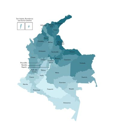 Vector isolated illustration of simplified administrative map of Colombia. Borders and names of the departments (regions). Colorful blue khaki silhouettes