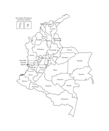 Vector isolated illustration of simplified administrative map of Colombia. Borders and names of the departments (regions). Black line silhouettes.