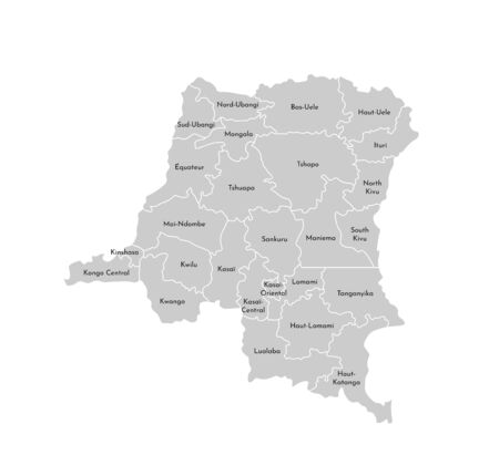 Vector isolated illustration of simplified administrative map of Democratic Republic of the Congo. Borders and names of the provinces (regions). Grey silhouettes. White outline