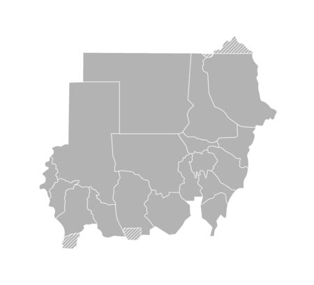 Vector isolated illustration of simplified administrative map of Sudan. Borders of the provinces (regions). Grey silhouettes. White outline.