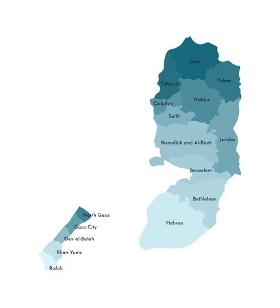 Vector isolated illustration of simplified administrative map of Palestine. Borders and names of the governorates (regions). Colorful blue khaki silhouettes Stock Illustratie