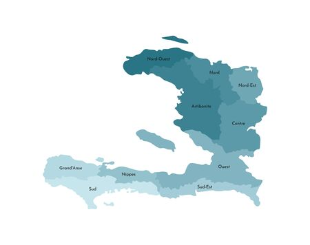Vector isolated illustration of simplified administrative map of Haiti. Borders and names of the departments (regions). Colorful blue khaki silhouettes