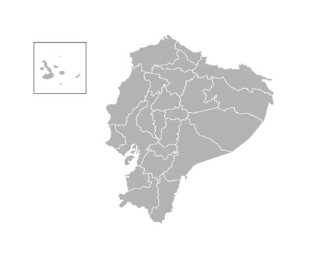 Vector isolated illustration of simplified administrative map of Ecuador. Borders of the provinces (regions). Grey silhouettes. White outline. Illustration