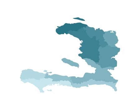 Vector isolated illustration of simplified administrative map of Haiti. Borders of the departments (regions). Colorful blue khaki silhouettes.