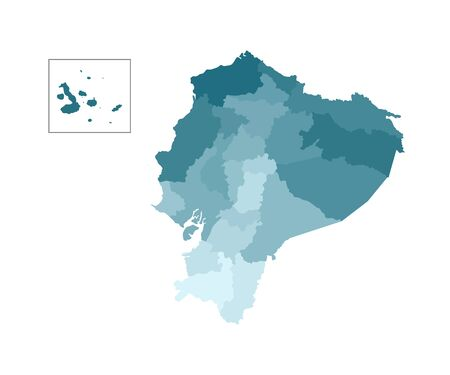 Vector isolated illustration of simplified administrative map of Ecuador. Borders of the provinces (regions). Colorful blue khaki silhouettes.