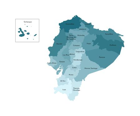 Vector isolated illustration of simplified administrative map of Ecuador. Borders and names of the provinces (regions). Colorful blue khaki silhouettes