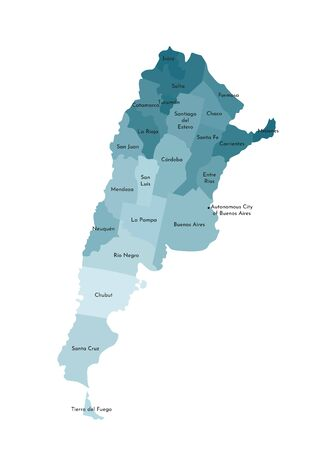 Vector isolated illustration of simplified administrative map of Argentina. Borders and names of the provinces (regions). Colorful blue khaki silhouettes Ilustrace