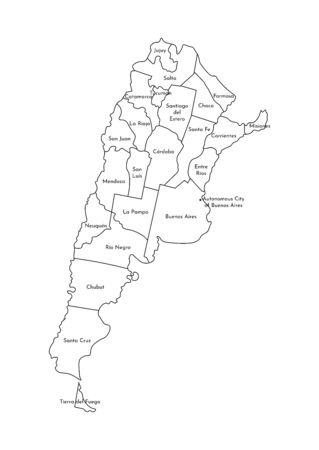 Vector isolated illustration of simplified administrative map of Argentina. Borders and names of the provinces (regions). Black line silhouettes. Ilustrace