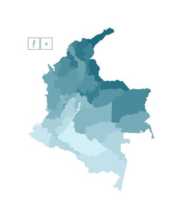 Vector isolated illustration of simplified administrative map of Colombia. Borders of the departments (regions). Colorful blue khaki silhouettes.