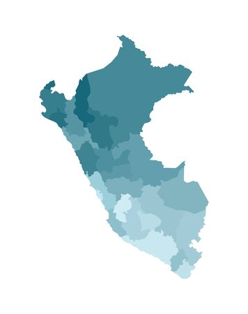 Vector isolated illustration of simplified administrative map of Peru. Borders of the departments (regions). Colorful blue khaki silhouettes. Stock Illustratie