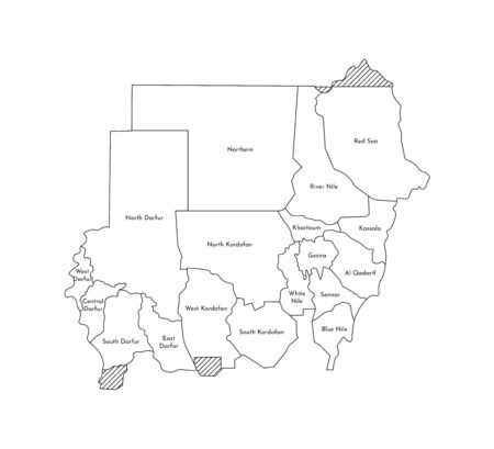 Vector isolated illustration of simplified administrative map of Sudan. Borders and names of the regions. Black line silhouettes.