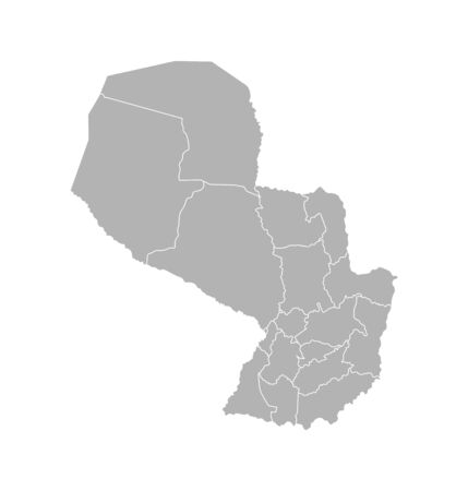 Vector isolated illustration of simplified administrative map of Paraguay. Borders of the departments (regions). Grey silhouettes. White outline.