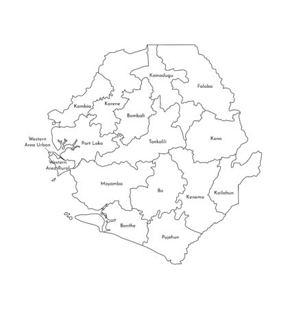Vector isolated illustration of simplified administrative map of Sierra Leone. Borders and names of the districts (regions). Black line silhouettes.