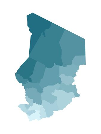 Vector isolated illustration of simplified administrative map of Chad. Borders of the regions. Colorful blue khaki silhouettes. Vettoriali