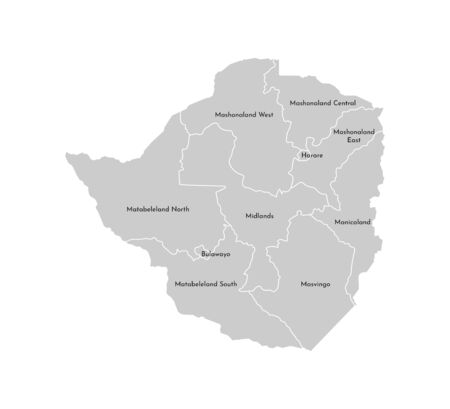 Vector isolated illustration of simplified administrative map of Zimbabwe. Borders and names of the provinces (regions). Grey silhouettes. White outline Stock Illustratie