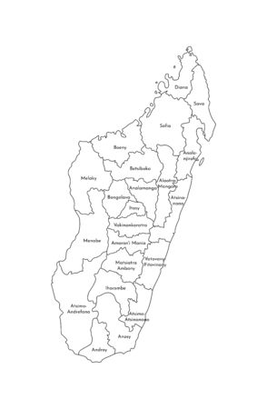 Vector isolated illustration of simplified administrative map of Madagascar. Borders and names of the regions. Black line silhouettes. Illustration