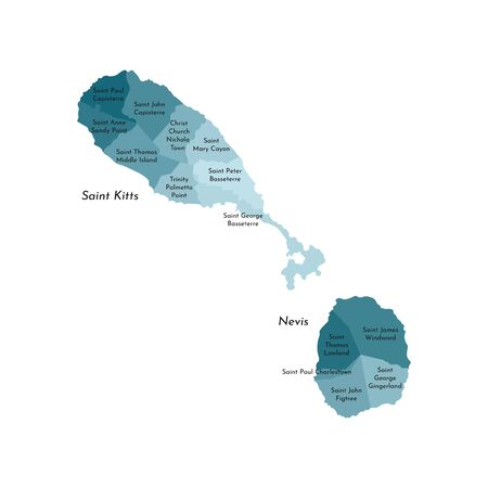 Vector isolated illustration of simplified administrative map of Saint Kitts and Nevis. Borders and names of the parishes (regions). Colorful blue khaki silhouettes.  イラスト・ベクター素材