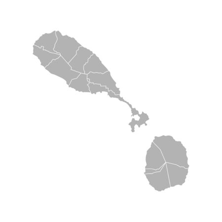 Vector isolated illustration of simplified administrative map of Saint Kitts and Nevis. Borders of the parishes (regions). Grey silhouettes. White outline.
