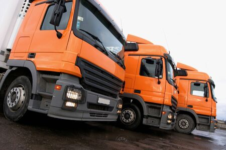 three orange lorries Stock Photo - 780368
