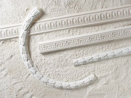 moulding: Samples of a stucco moulding from plaster Stock Photo