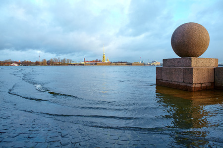 The view to the fortress in Petersburg during the high water