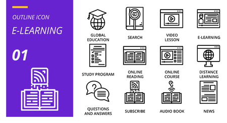 filled outline icon pack . Icons for education, e-lerning, study online,for websites and mobile websites and apps.