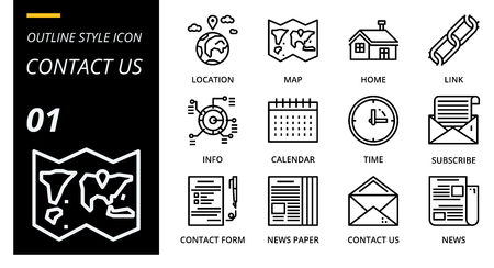 outline icon pack for designers and developers. Icons for social media, social network, communication,contact us, digital marketing, for websites and mobile websites and apps. Illusztráció