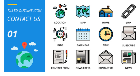 filled outline icon pack for designers and developers. Icons for social media, social network, communication,contact us, digital marketing, for websites and mobile websites and apps. Illusztráció