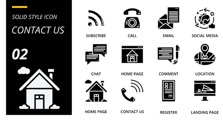 solid icon pack for designers and developers. Icons for social media, social network, communication,contact us, digital marketing, for websites and mobile websites and apps. Illusztráció