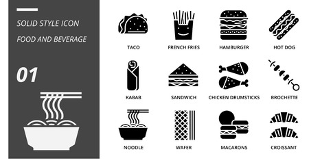 Solid icon pack for food and beverage, taco, french fries, hamburger, hotdog, kabab, sandwich, chicken drumsticks, brochette, noodle, wafer, macarons, croissant, food, beverage.