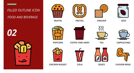 filled outline icon pack for food and beverage, muffin, pretzel, cracker, seed, popcorn, coffee, tak away, tea, cappuccino, chicken nugget, cola, souce, chicken wing, food, baverage. Illusztráció