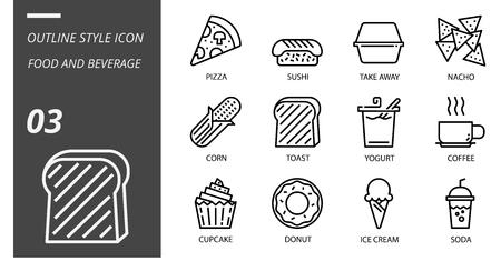 Outline icon pack for food and beverage, pizza, sushi, take away, nacho, corn, toast, yogurt, coffee, cupcake, donut, ice cream, soda