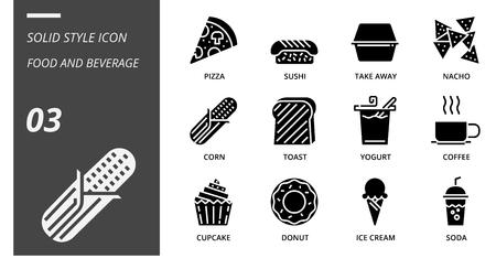 Solid icon pack for food and beverage, pizza, sushi, take away, nacho, corn, toast, yogurt, coffee, cupcake, donut, ice cream, soda.