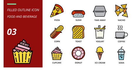 filled outline icon pack for food and beverage, pizza, sushi, take away, nacho, corn, toast, yogurt, coffee, cupcake, donut, ice cream, soda.