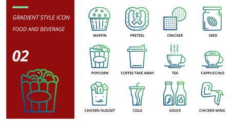 Gradient icon pack for food and beverage, muffin, pretzel, cracker, seed, popcorn, coffee, tak away, tea, cappuccino, chicken nugget, cola, souce, chicken wing, food, baverage. Illusztráció