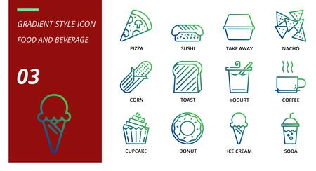 Gradient icon pack for food and beverage, pizza, sushi, take away, nacho, corn, toast, yogurt, coffee, cupcake, donut, ice cream, soda. Illusztráció