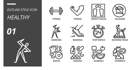 Outline icon pack for healthy,fitness, weight, scales, no, sugar, exercises, running, stop, watch, running track, biotin, choline, vitamin c, vitamin d.
