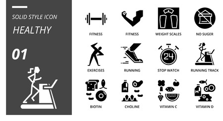 Solid icon pack for healthy, fitness, weight, scales, no, sugar, exercises, running, stop, watch, running track, biotin, choline, vitamin c, vitamin d. Illustration