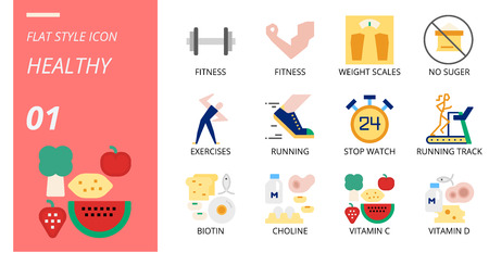 Flat icon pack for healthy, fitness, weight, scales, no, sugar, exercises, running, stop, watch, running track, biotin, choline, vitamin c, vitamin d. Illusztráció