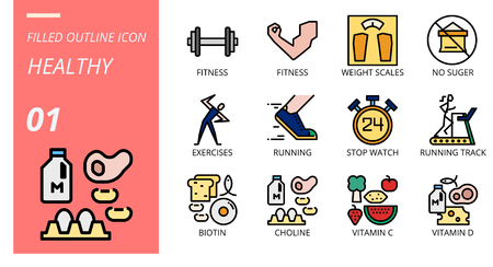 filled outline icon pack for healthy, fitness, weight, scales, no, sugar, exercises, running, stop, watch, running track, biotin, choline, vitamin c, vitamin d.