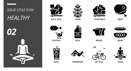 solid icon pack for hygiene routine, folic acid, herb, vegetable, meat, chicken, milk, bread, bean, juice, swimming, bicycle, yoga. Illusztráció