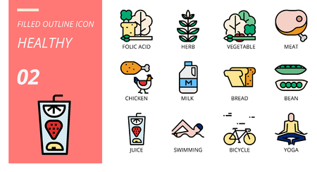 filled outline icon pack for hygiene routine, folic acid, herb, vegetable, meat, chicken, milk, bread, bean, juice, swimming, bicycle, yoga. Illusztráció