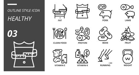 Outline icon pack for healthy, fat, diet, pork, lamb, clean food, protein, bean, fruit, vitamin e, vitamin k, running, weight. Illusztráció