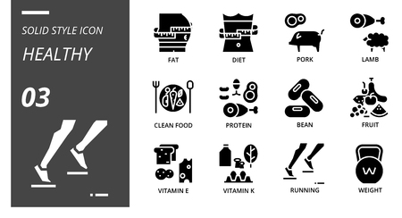 Solid icon pack for healthy, fat, diet, pork, lamb, clean food, protein, bean, fruit, vitamin e, vitamin k, running, weight.