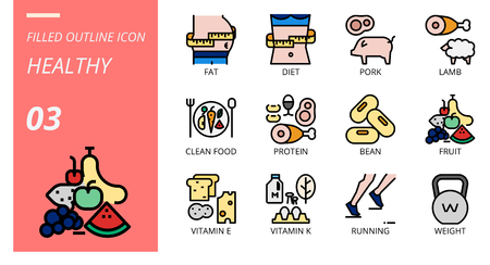 filled outline icon pack for healthy, fat, diet, pork, lamb, clean food, protein, bean, fruit, vitamin e, vitamin k, running, weight. Illustration