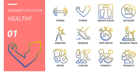 Gradient icon pack for healthy, fitness, weight, scales, no, sugar, exercises, running, stop, watch, running track, biotin, choline, vitamin c, vitamin d. Illustration